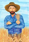 A farmer in wheat field