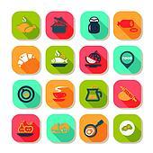 flat food icon set