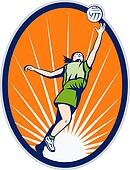 netball player reboundng jumping for ball set inside an oval with sunburst in background
