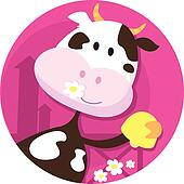 Happy cow character with bell