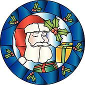Christmas stained glass decoration with Santa