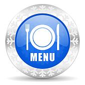 menu blue icon, christmas button, restaurant sign