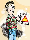 Man with Attention Sign_01