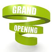 Grand opening green helix banner