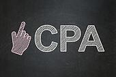 Business concept: Mouse Cursor and CPA on chalkboard background