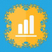 Growth and development concept. graph of Rate . Floral flat design on a blue abstract background with place for your text.