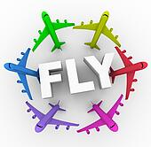Fly - Colorful Airplanes Around Word