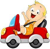 Baby driving Car