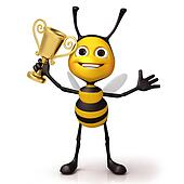 Bee happy with golden trophy