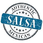 Salsa blue round grungy stamp isolated on white background