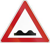 A road warning sign in Germany: Uneven road