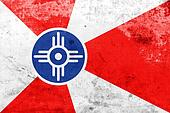 Flag of Wichita, Kansas, with a vintage and old look