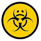 bio hazard symbol with sad face
