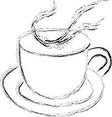 Steaming cup of tea or coffee