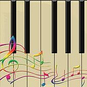 colourful notes on piano vector