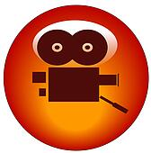 red movie camera web button or icon - vector