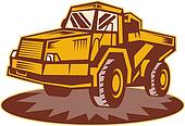 Mining dump truck done in retro style.