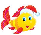 Coral fish with a Santas hat