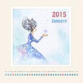 Calendar for january 2015 with girl, watercolor painting