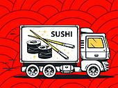 illustration of truck free and fast delivering sushi to c