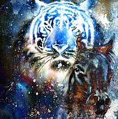 tiger with horse,  collage on color abstract  background,  rust structure, wildlife animals.