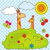 Cartoon background for kids with giraffe and kangaroo