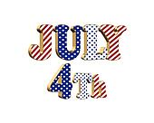 July 4th 3D text isolated