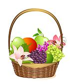 wicker fruit basket with flowers