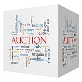 Auction 3D cube Word Cloud Concept