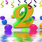 Number Two Party Displays Birthday Celebration Or Party