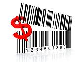 bar code as an open mouth with Dollar