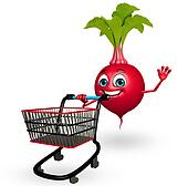 Cartoon character of beet root with trolley