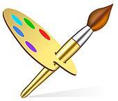 artist\\\'s palette and brush