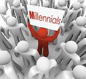 Millennials Man Holding Sign Crowd Young People Generation