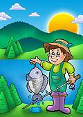 Small fisherman with fish