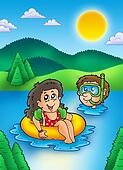 Two swimming kids in lake