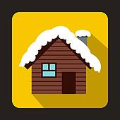 Wooden house covered with snow icon, flat style