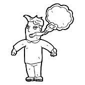 cartoon man with smokers breath