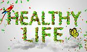 Healthy Life leaves particles 3D