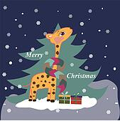 Christmas card with giraffe