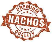nachos brown grunge seal isolated on white
