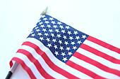 U.S. Flag blowing in a strong wind