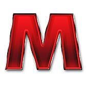 Metal letter M in red