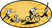 Olympic triathlon athlete swim bik run