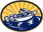 fisherman with fishing rod on boat set inside an ellipse