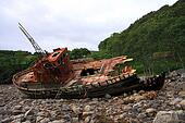 Shipwrecked fishing trawler