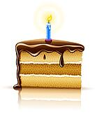 piece of birthday chocolate cake with burning candle
