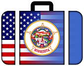 Suitcase with USA and Minnesota State Flag