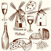 Collection of vector hand drawn elements cheese, wine and Hollan