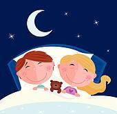 Siblings - boy and girl sleeping